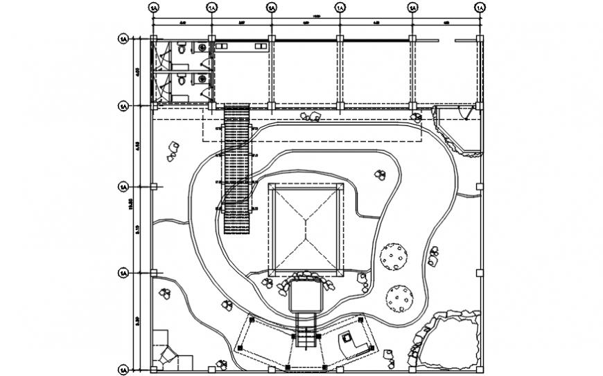 Simple resort garden landscaping layout plan cad drawing details dwg file