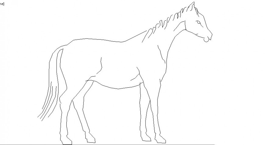 Simple standing horse side elevation block cad drawing details dwg file