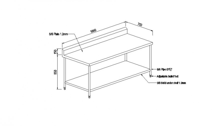 Simple wooden table section cad drawing details dwg file