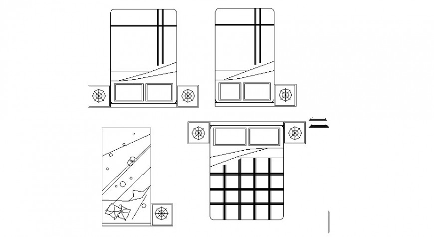 Single and double bed blocks 2d format cad drawing details dwg file