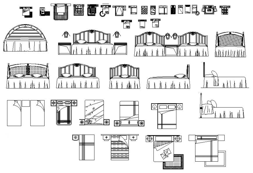 Single and double bed plan and elevation autocad file