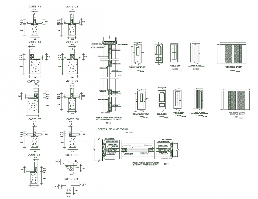 Single and double door elevations and installation drawing details dwg file