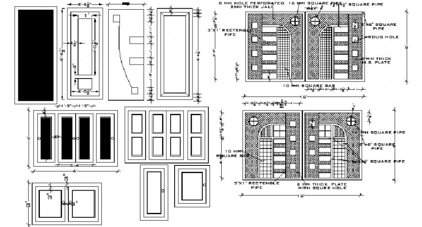 Single and double doors and windows elevation block drawing details dwg file