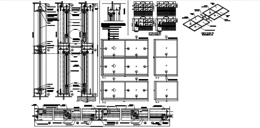 Single and double windows elevation and installation details for school dwg file
