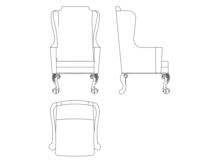 Single arm chair all sided elevation cad drawing details dwg file