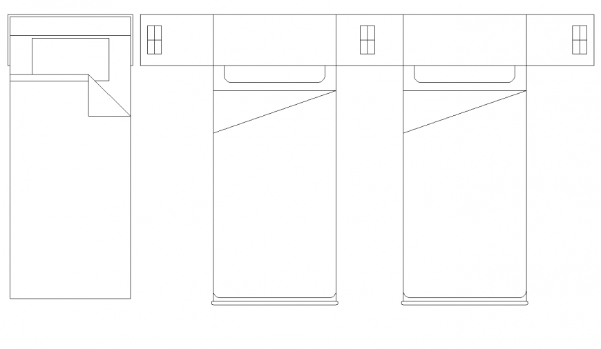 Single bed detail elevation autocad file
