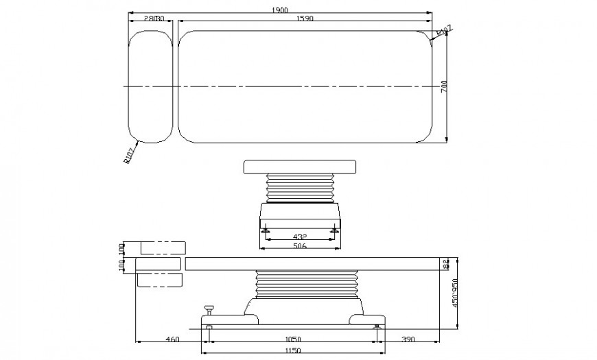 Single bed elevation detail drawing in autocad