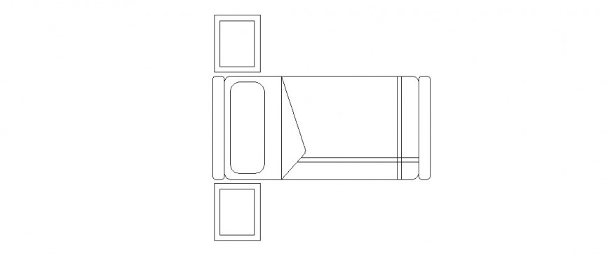 Single bed with two sided table block drawing details dwg file