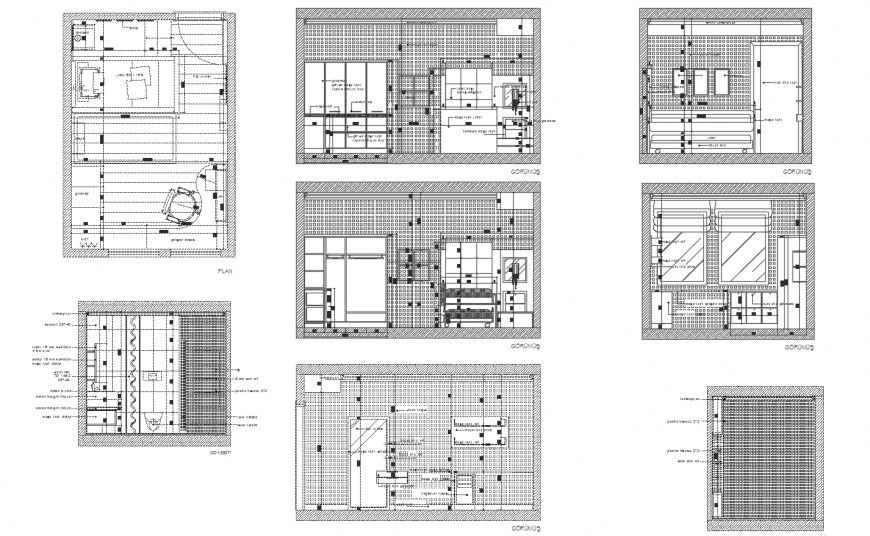 Single bedroom section, plan and auto-cad drawing details with furniture dwg file