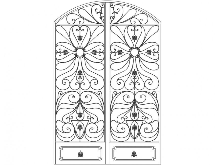 Single classic door elevation block cad drawing details dwg file