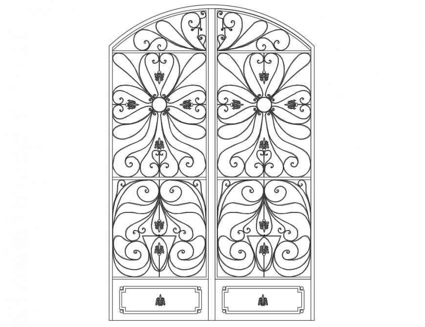 Single classic door elevation cad block details dwg file