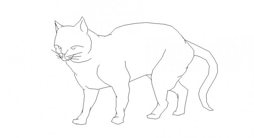 Single cute cat side elevation block cad drawing details dwg file