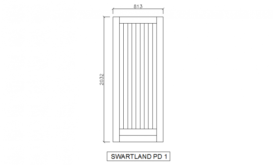 Single door elevation cad block details dwg file