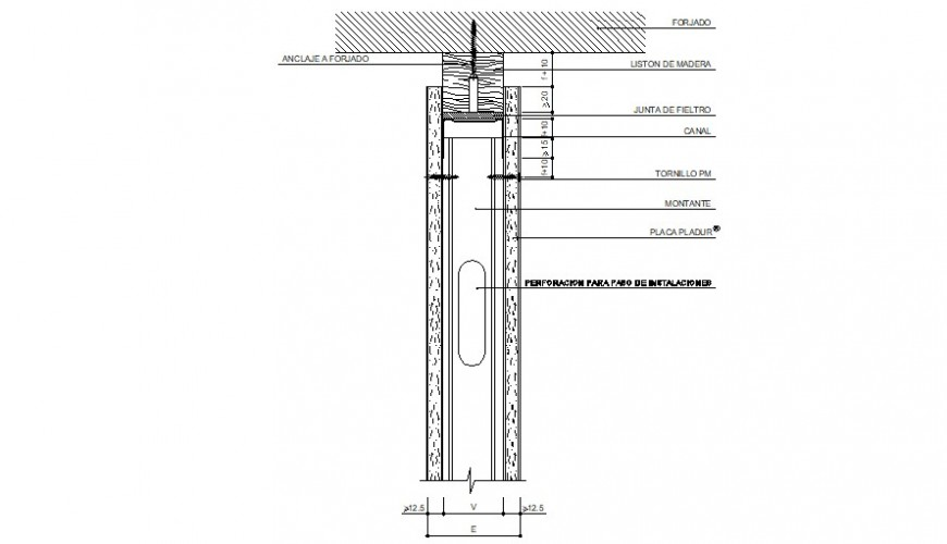 Single door framing section cad drawing details dwg file
