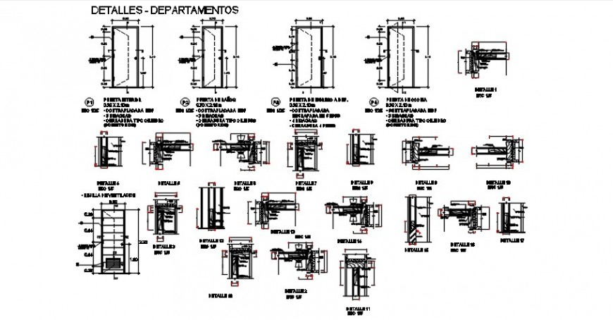 Single doors and windows elevation and installation drawing details dwg file