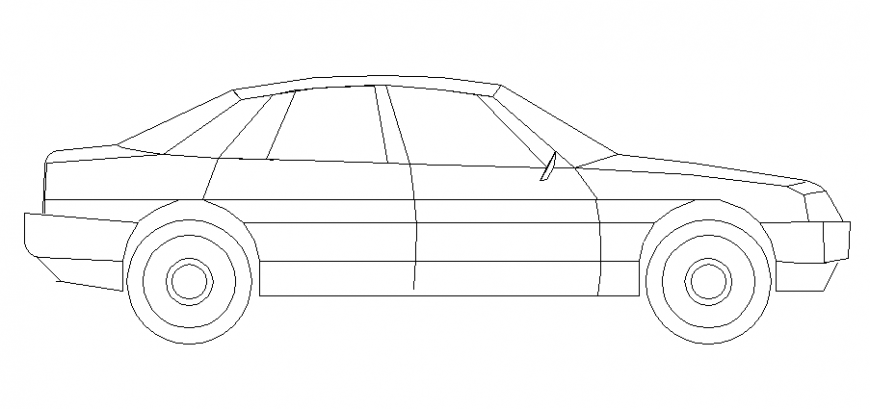 Single family car side elevation cad block details dwg file