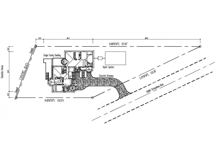 Single family dwelling house site plan details dwg file