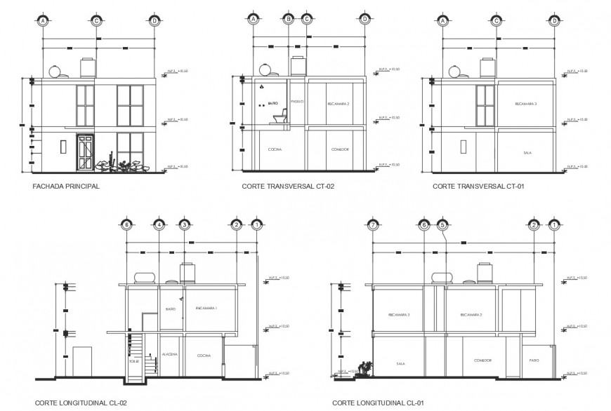 Single family home all sided elevation and section drawing details dwg file
