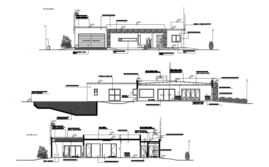 Single family home elevation detailing dwg file