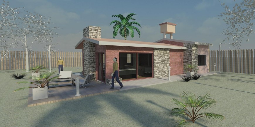 Single family house 3d model cad drawing details jpg file