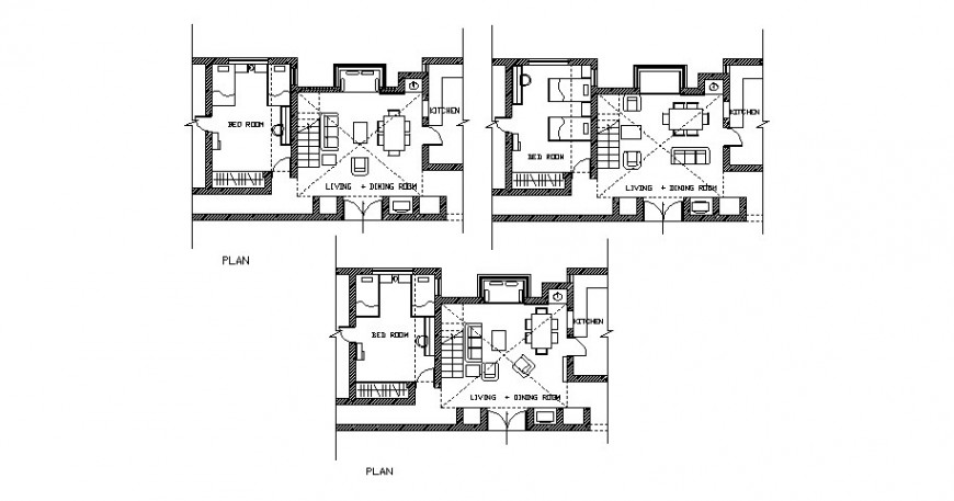 Single family house departments plans with furniture cad drawing details dwg file