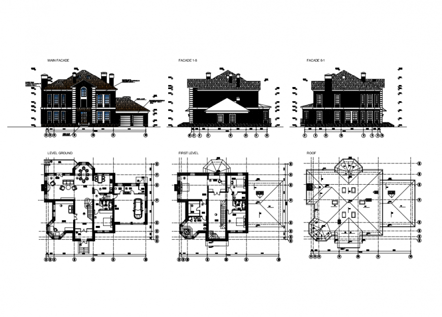 Single family house elevation, section and floor plan cad details dwg file