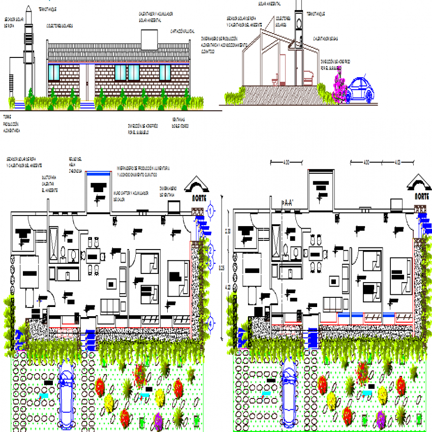 Single family house elevation, section and layout plan details dwg file