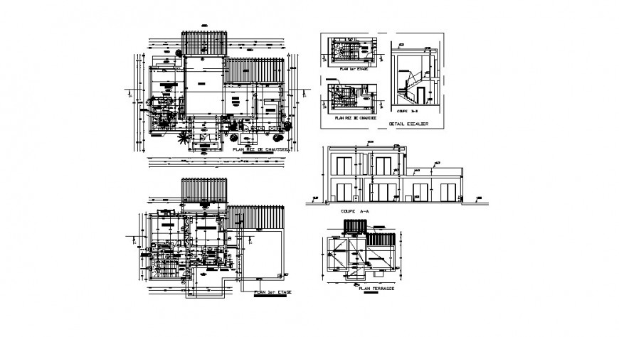 Single family house elevation, section and plan cad drawing details dwg file