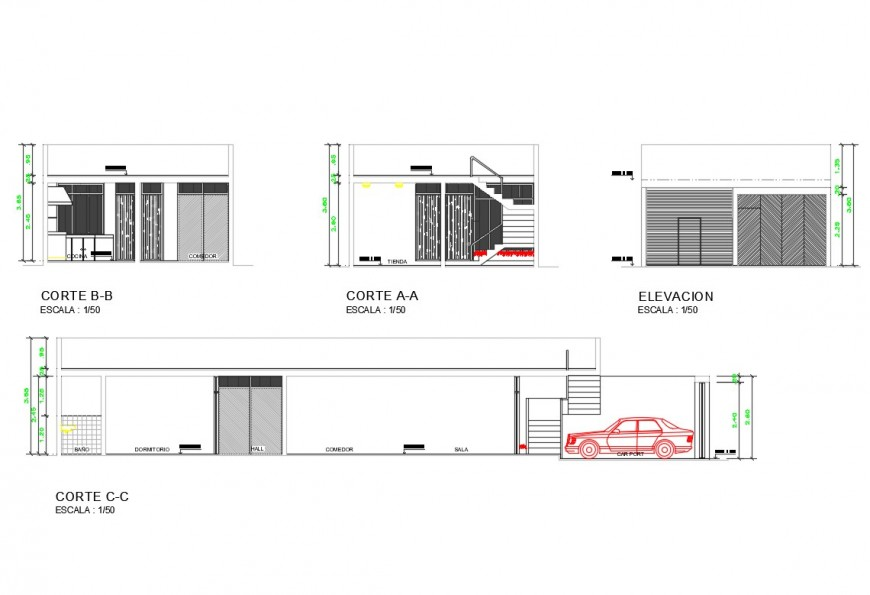 Single family house elevation and section cad drawing details dwg file
