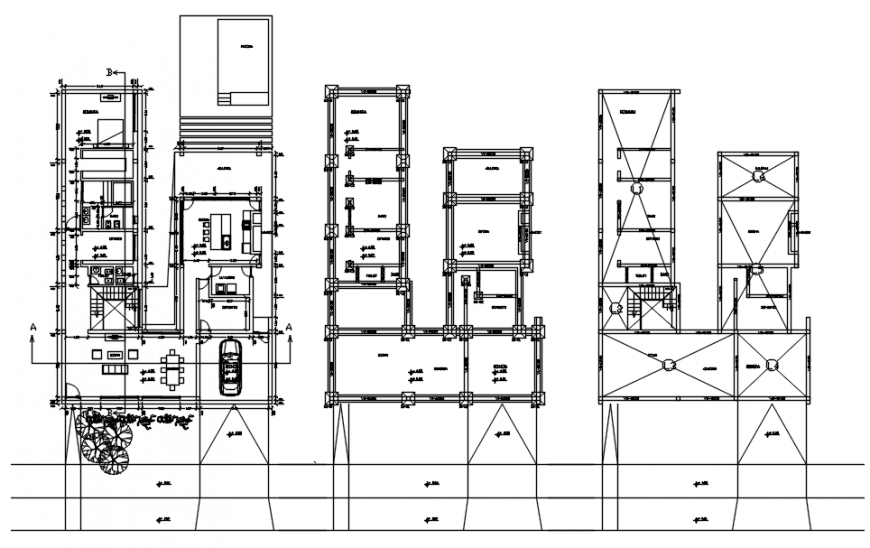 Single family house foundation plan, layout plan and structure details dwg file