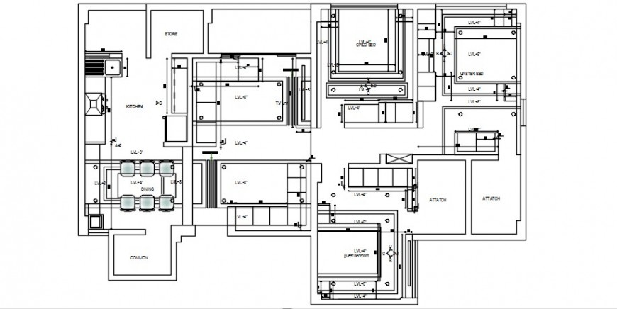 Single family house general distribution plan cad drawing details dwg file