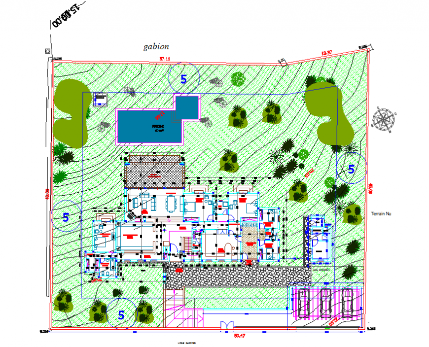 Single family house general plan and landscaping structure details dwg file