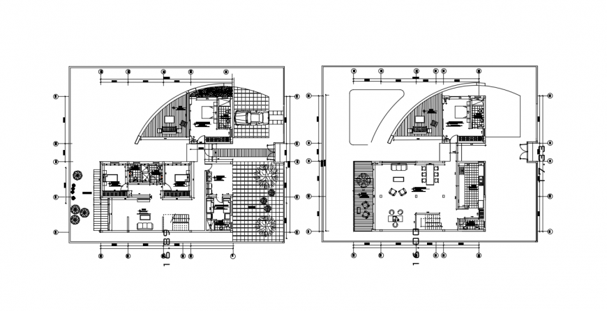 Single family house ground and first floor plan with furniture drawing detail dwg file