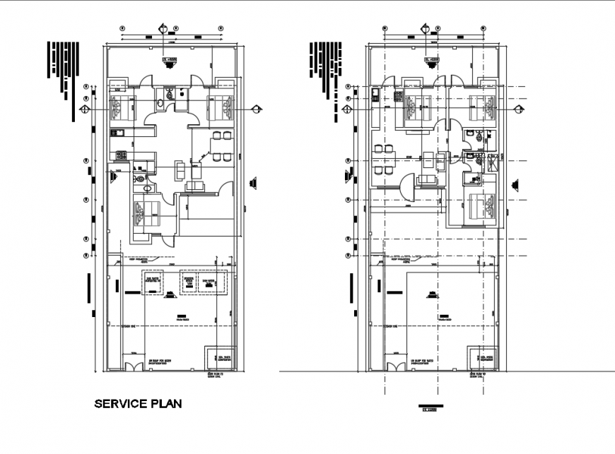 Single family house ground and first layout plan details dwg file