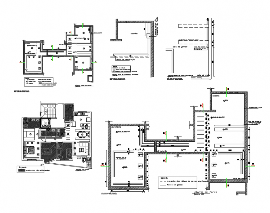 Single family house layout plan and lining section details dwg file