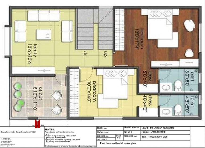 Single family house layout plan cad drawing details pdf file
