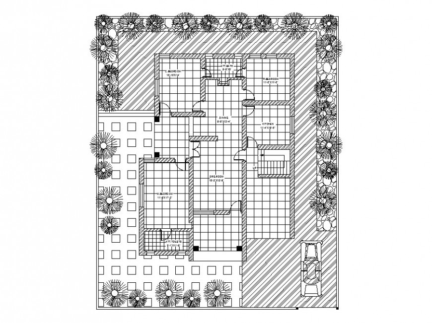 Single family house layout plan with landscaping structure cad drawing details dwg file