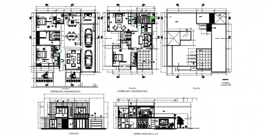 Single family house main elevation, section and floor plan distribution drawing details dwg file