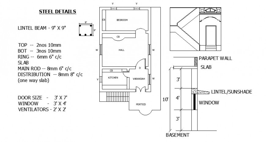 Single family house plan, parapet wall and window cad drawing details dwg file
