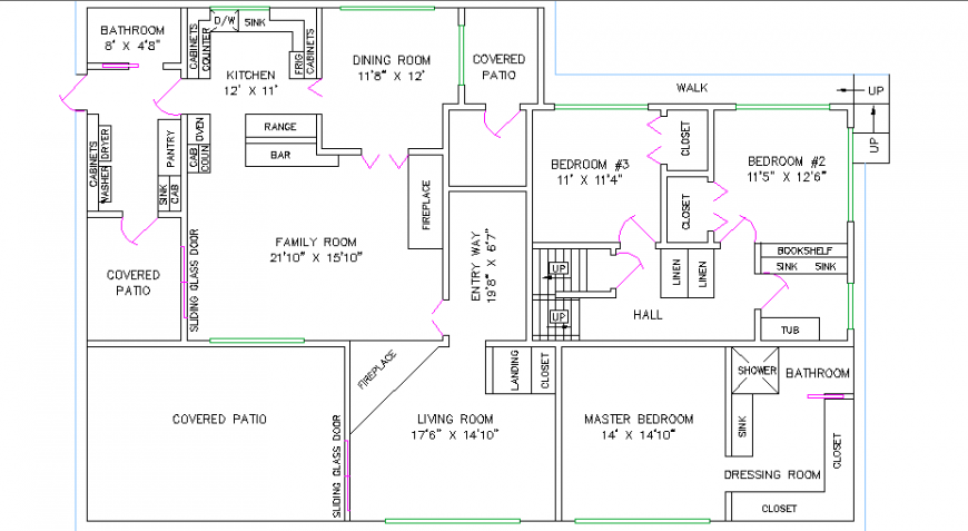 Single family house plan details with car pantry cad drawing details dwg file