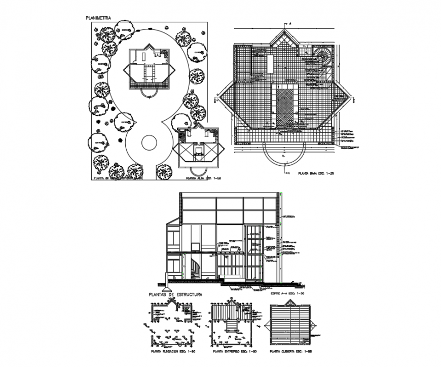 Single family house sectional, landscaping structure, foundation and constructive details dwg file