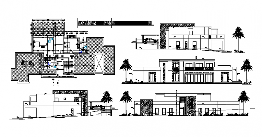 Single family house two-level elevation, section and plan details dwg file