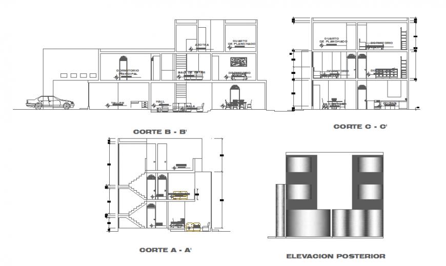 Single family housing block drawing in dwg file.