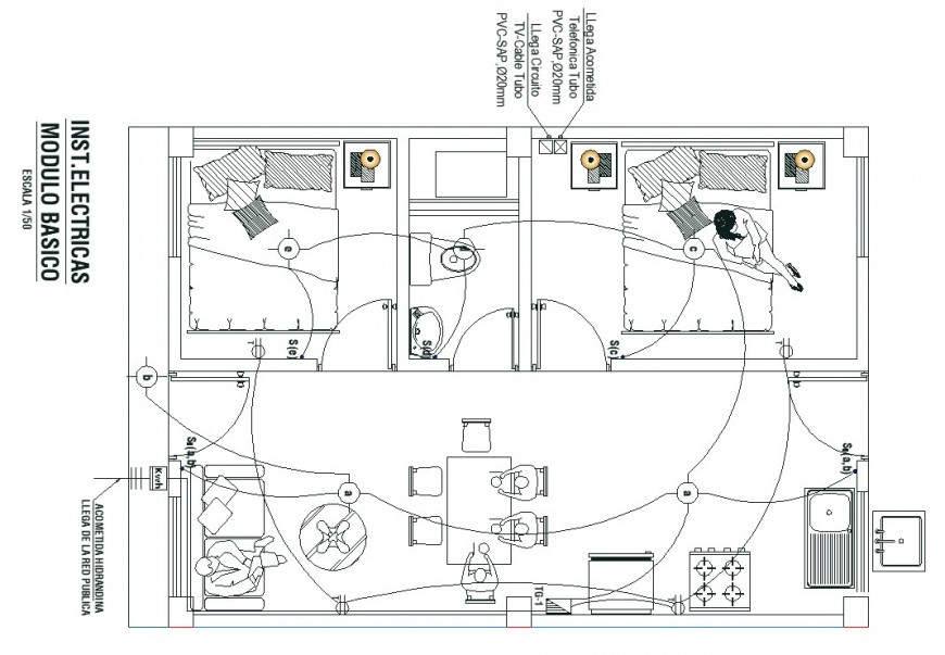 Single family housing electric drawing in dwg file.
