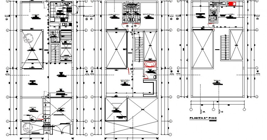 Single family housing floors distribution plan cad drawing details dwg file