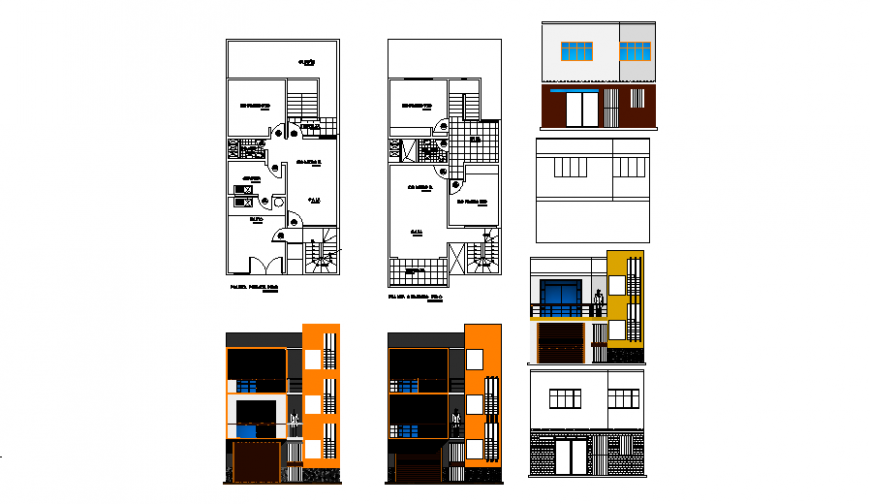 Single family housing plan and elevation drawing in dwg file.