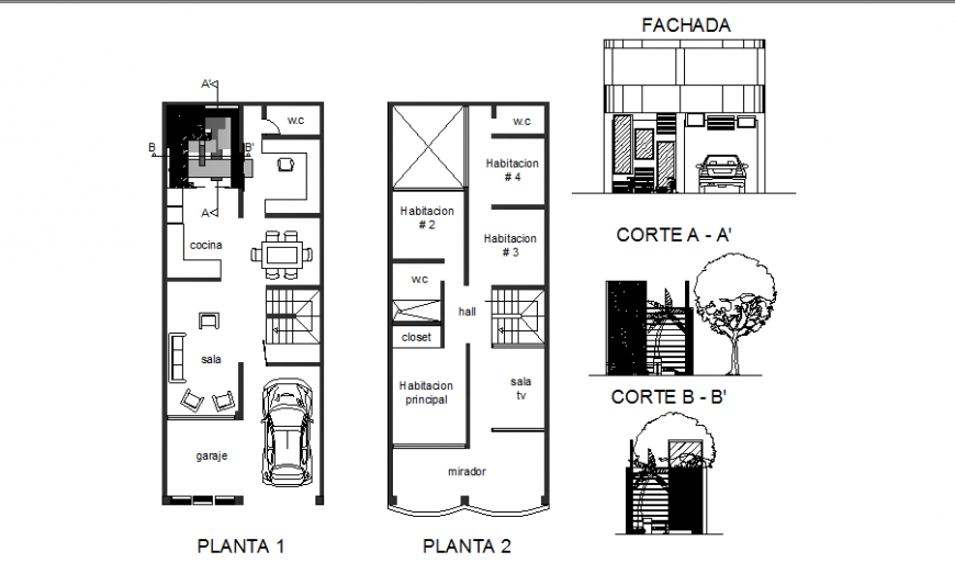 Single family housing section and first and second floor plan cad drawing details dwg file