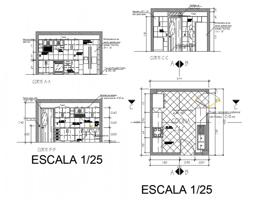 Single family kitchen section and plan cad drawing details dwg file