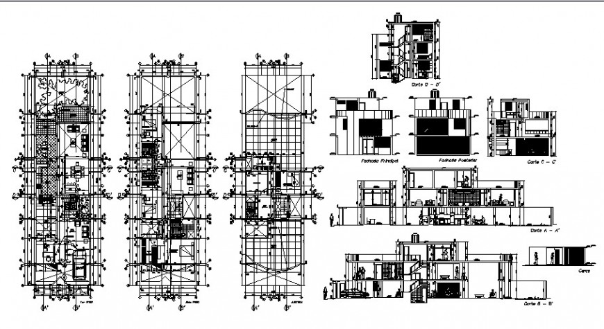 Single family luxuries bungalow elevation, section and floor plan drawing details dwg file