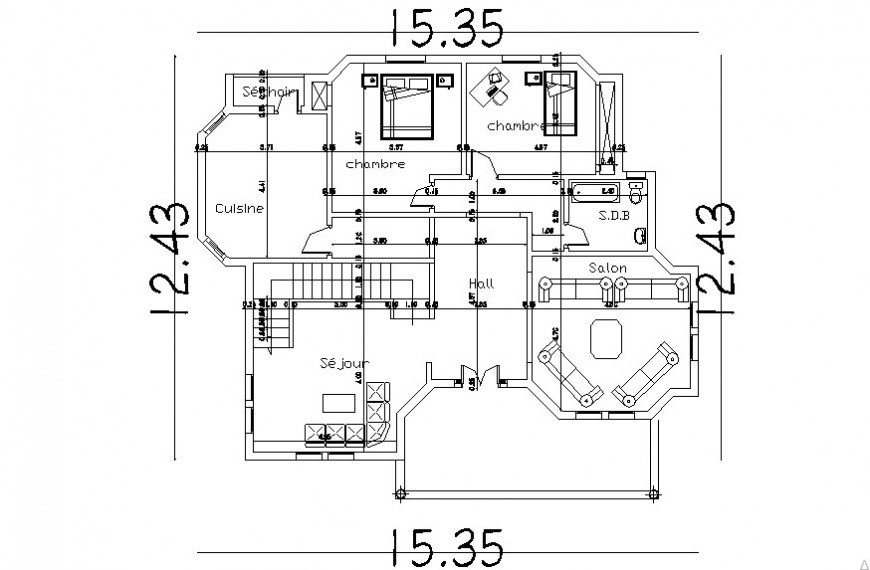 single family residence layout plan dwg file